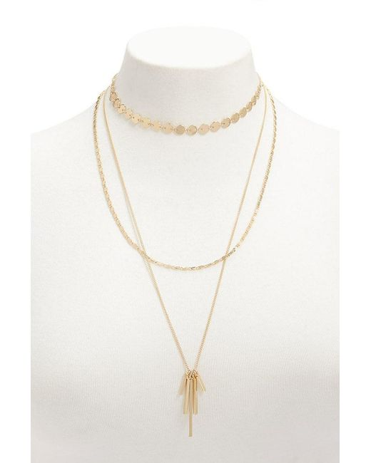 Forever 21 - Metallic Women's Layered Matchstick Pendant Necklace - Lyst