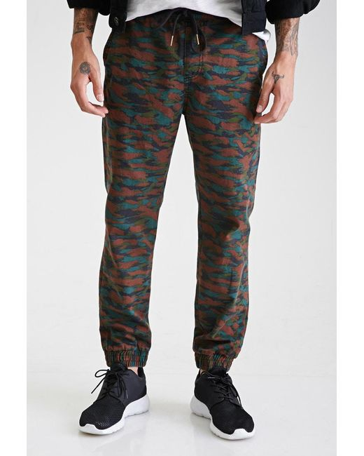 150983c463207 Forever 21 - Green 's Camo Woven Jogger Pants for Men - Lyst ...