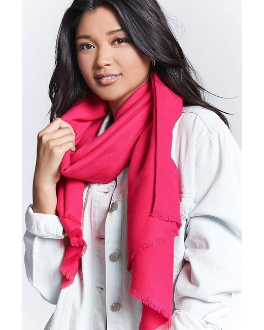 Forever 21 - Pink Frayed Oblong Scarf - Lyst