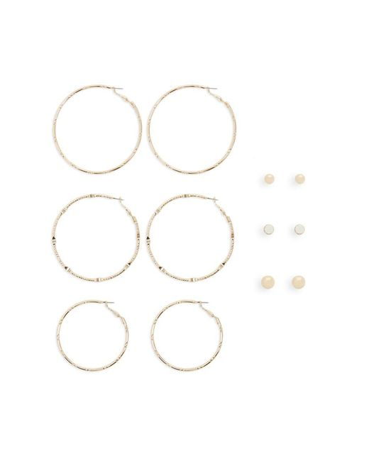 Forever 21 Metallic Assorted Stud & Hoop Earring Set , Gold/clear
