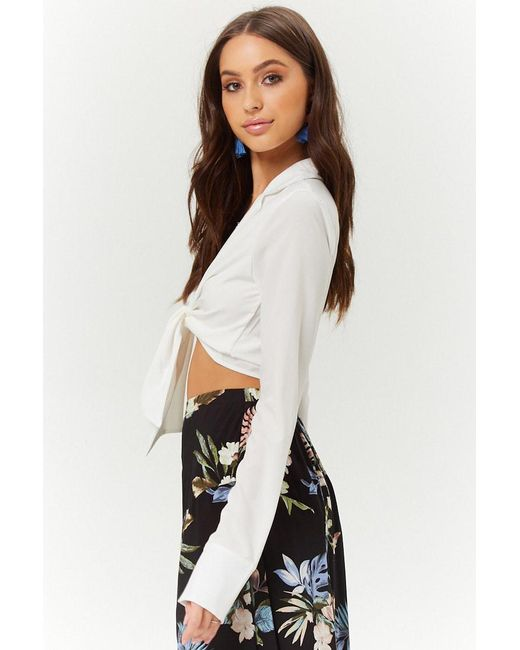 68c9358b791eef ... Forever 21 - White Plunging Knotted Top - Lyst
