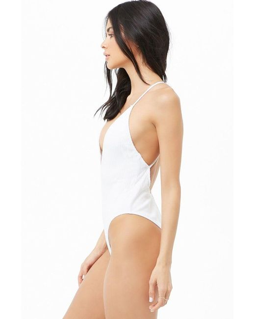 298e7f7eb96ac9 ... Forever 21 - White Ribbed Crisscross One-piece Swimsuit - Lyst