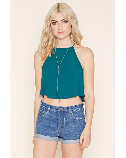 Forever 21   Green Crepe Trapeze Cami   Lyst