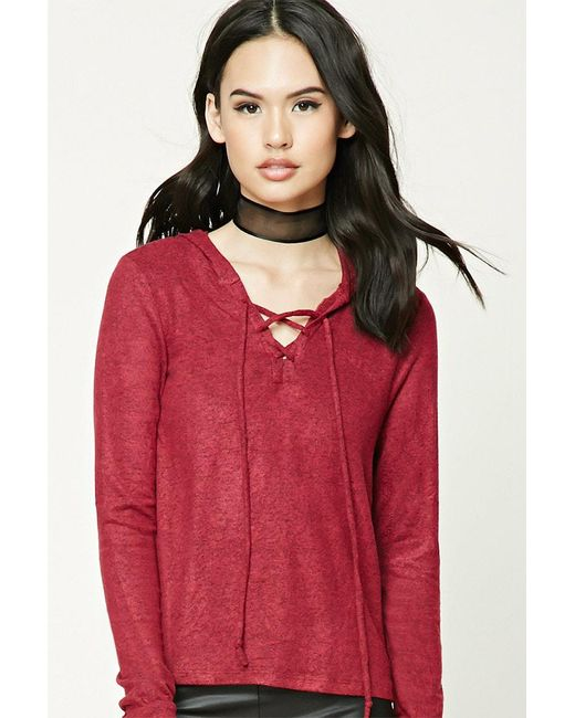 FOREVER21 - Red Lace-up Hooded Sweater - Lyst
