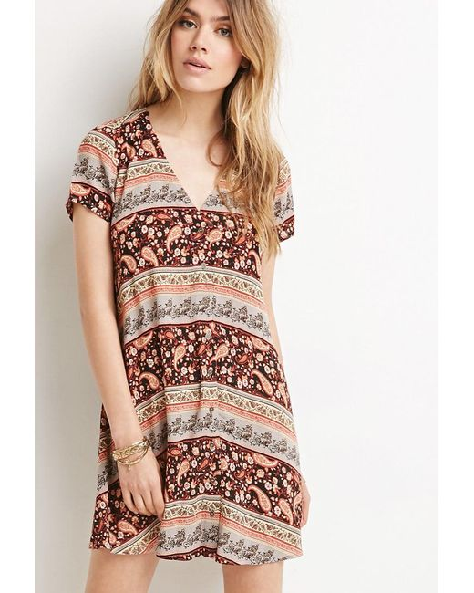 Forever 21 | Black Buttoned Floral Print Dress | Lyst