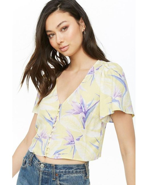 f1ed20591fd Forever 21 - Multicolor Women's Floral Button-front Crop Top - Lyst ...