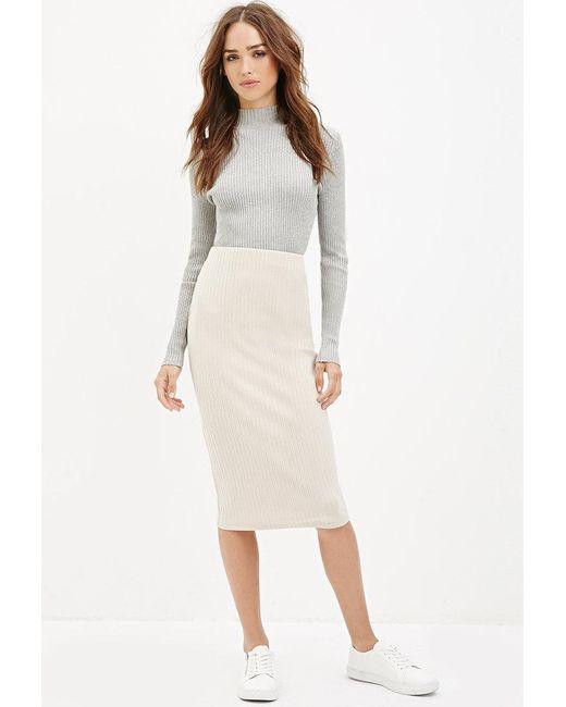 Forever 21 | White Ribbed Knit Midi Skirt | Lyst