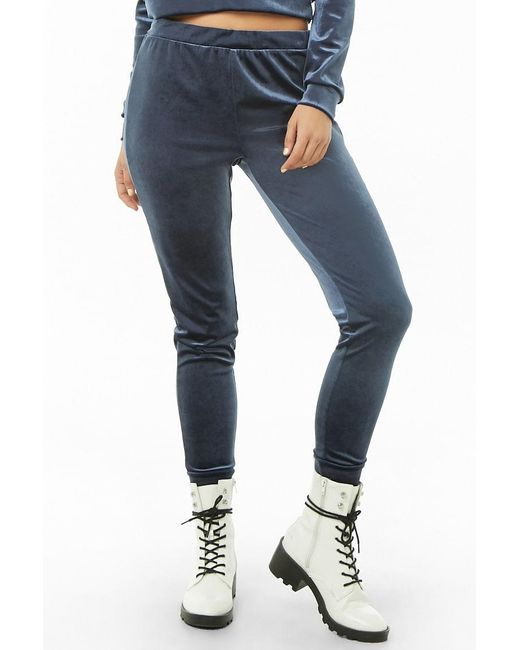 Forever 21 Blue Velvet Jogger Pants , Navy