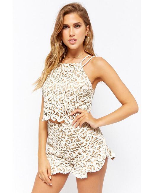 Forever 21 - White Lace Ruffle Shorts - Lyst