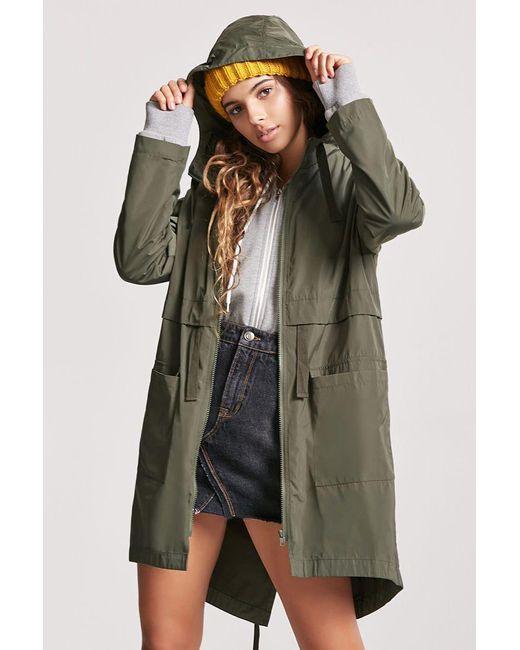 c12ff425c Green Women's High-low Hooded Parka Jacket