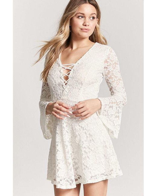 4b9aba2947c Forever 21 - White Lace Bell-sleeve Dress - Lyst ...