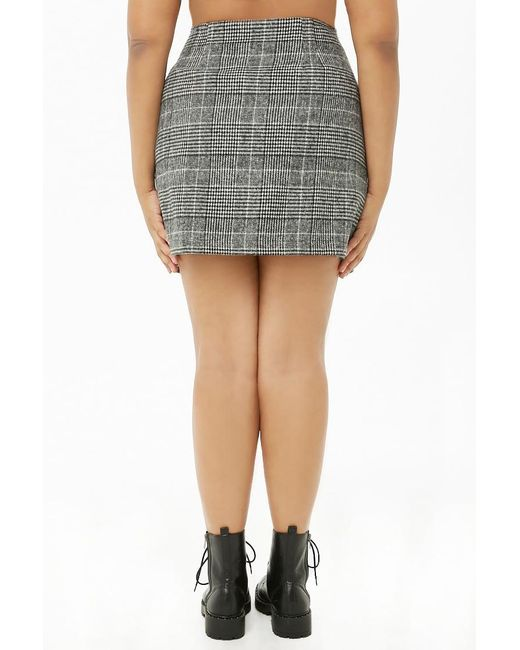 b86017f4635 Forever 21 Women s Plus Size Glen Plaid Mini Skirt in Black - Lyst