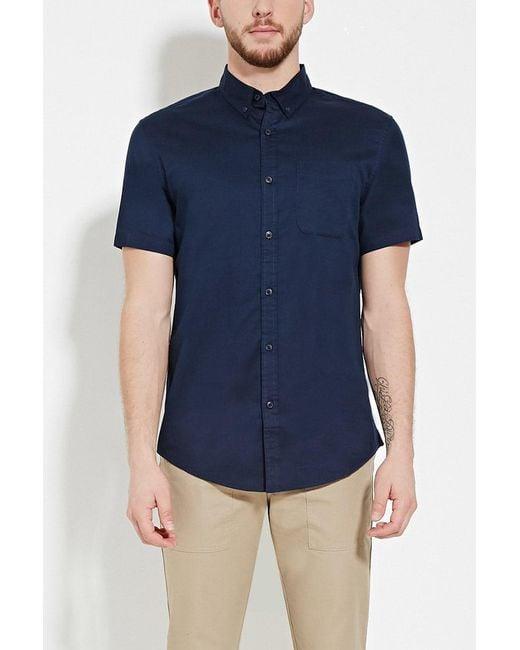 Forever 21 - Blue Button-collar Shirt for Men - Lyst
