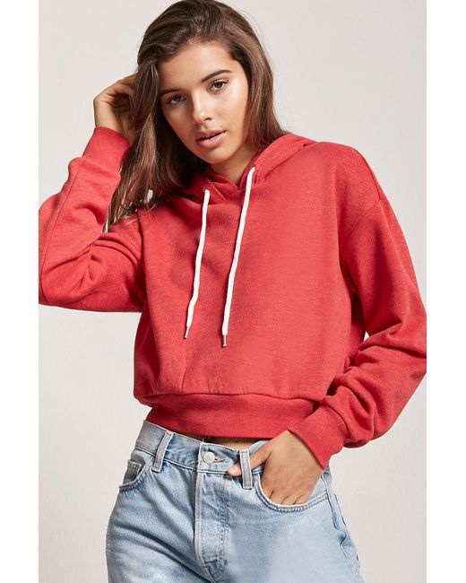 Forever 21 Red Women's Knit Drawstring Hoodie