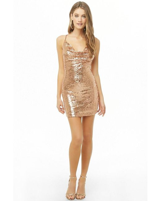 Forever 21 - Multicolor Iridescent Sequin Cowl Neck Dress - Lyst