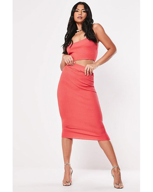 Missguided - Pink Ribbed Knit Skirt At - Lyst