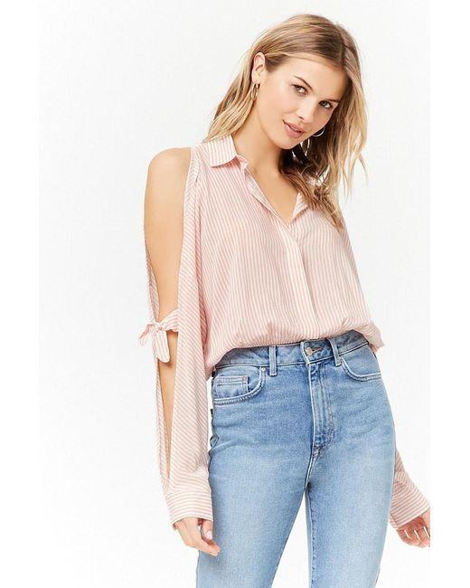 Forever 21 - Multicolor Pinstripe Open-shoulder Shirt - Lyst