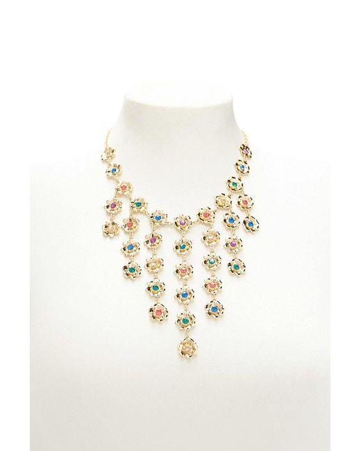 Forever 21 - Metallic Floral Rhinestone Statement Necklace - Lyst