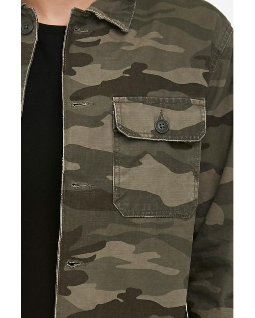 e4a0f2ff589d5 ... Forever 21 - Green Flap-pocket Camo Jacket for Men - Lyst ...