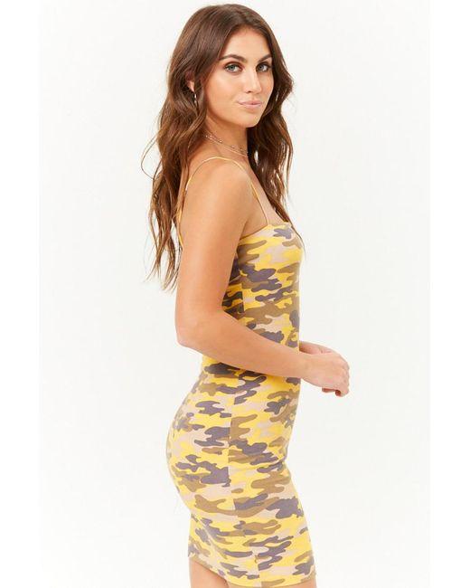 8b406ada18b ... Forever 21 - Yellow Women s Camo Cami Mini Dress - Lyst