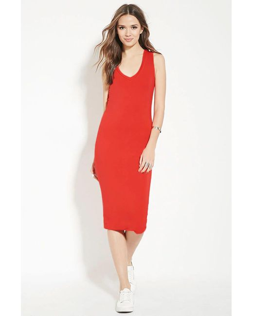 Forever 21 | Red Contemporary Midi Dress | Lyst