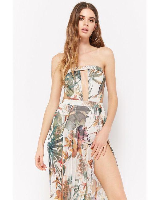 Forever 21 - White Floral Tube Maxi Dress - Lyst
