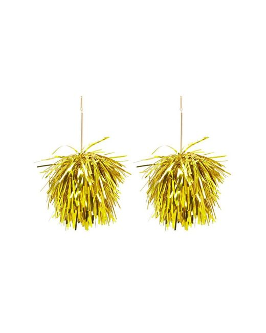 Forever 21 Metallic Tinsel Drop Earrings , Gold