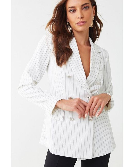 Forever 21 Multicolor Pinstriped Double-breasted Blazer , Cream/black