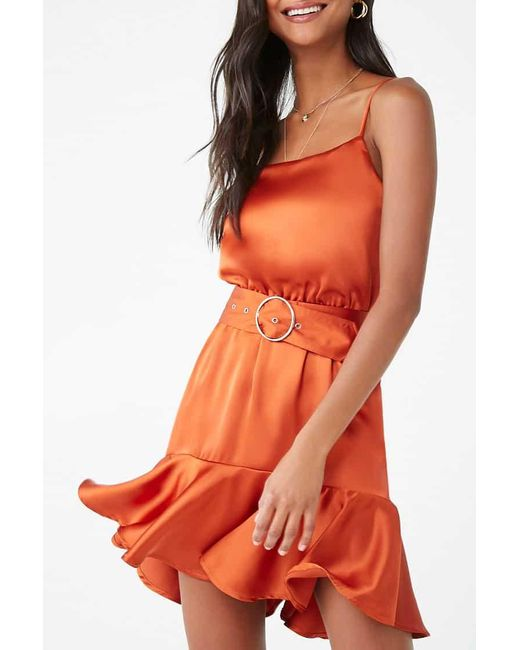 Forever 21 Orange Satin Cami Mini Dress , Rust