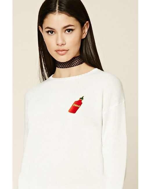 Forever 21 - White Swag Patch Graphic Jumper - Lyst