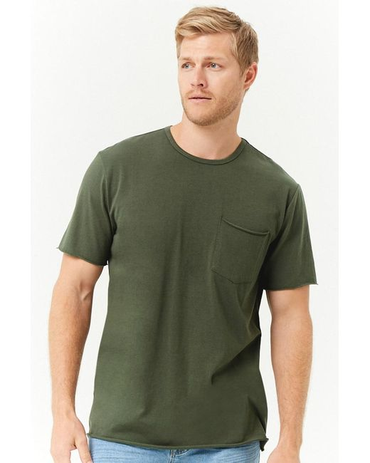 Forever 21 - Green Rolled-trim Knit Tee for Men - Lyst