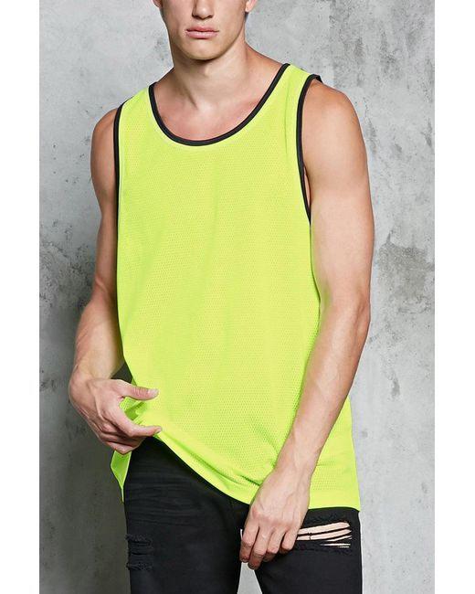 Forever 21 - Yellow 's Striped-trim Mesh Tank Top for Men - Lyst