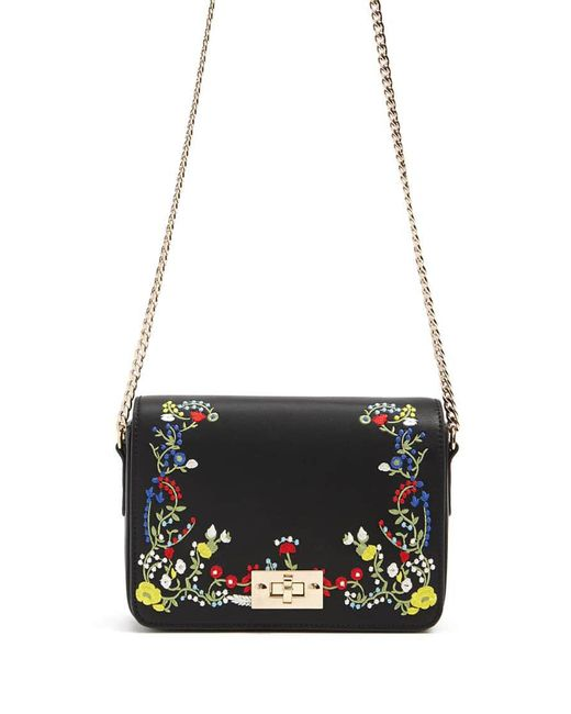 Forever 21   Black Embroidered Faux Leather Crossbody   Lyst