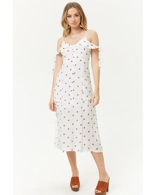 Forever 21 Multicolor Women's Polka Dot Open-shoulder Dress