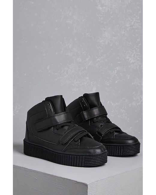 Forever 21 - Black Faux Leather Flatform Sneakers - Lyst