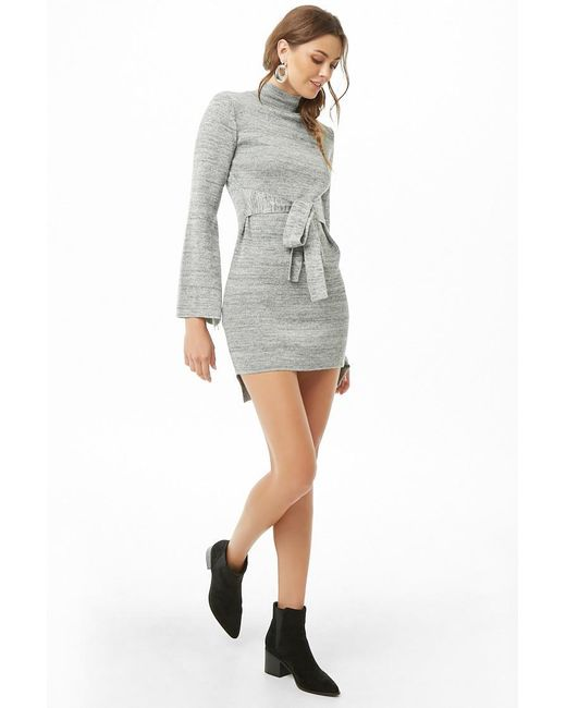 Forever 21 - Gray High-low Bell-sleeve Dress - Lyst