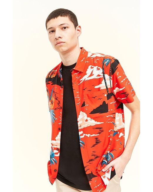 36a28a800a5c8 Forever 21 - Red 's Tropical Floral Print Shirt for Men - Lyst ...