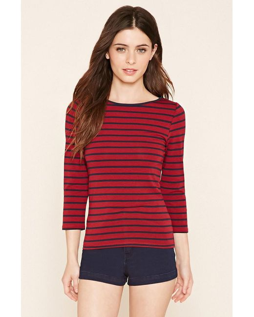 Forever 21 - Red Classic Stripe Top - Lyst