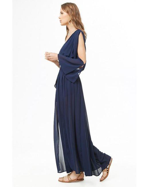 d68ef4a779 ... Forever 21 - Blue Chiffon M-slit Maxi Dress - Lyst