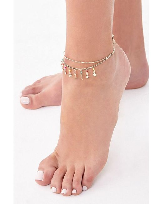 Forever 21 Pink Layered Star Charm Anklet