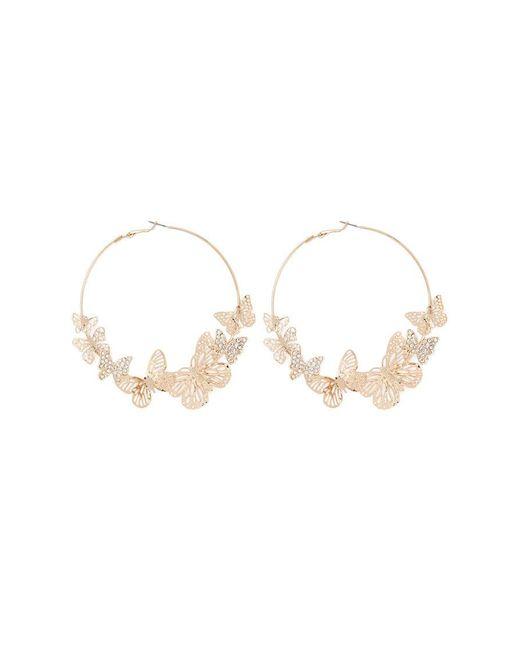 Forever 21 - Metallic Butterfly Hoop Earrings - Lyst