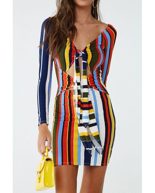 Forever 21 Multicolor Colorblock Tie-front Mini Dress , Ivory/multi
