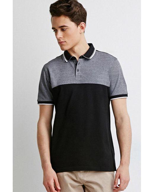 Forever 21 - Black Colorblocked Piqué Polo for Men - Lyst