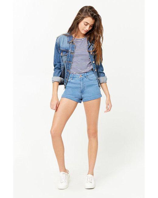 19f917c86 Forever 21 Women's High-waist Cuffed Denim Shorts in Blue - Lyst