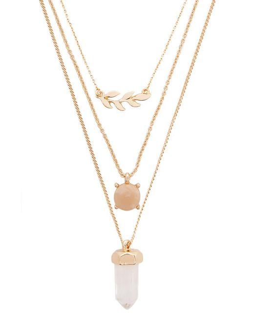 Forever 21 - Metallic Faux Gem & Leaf Pendant Necklace Set - Lyst