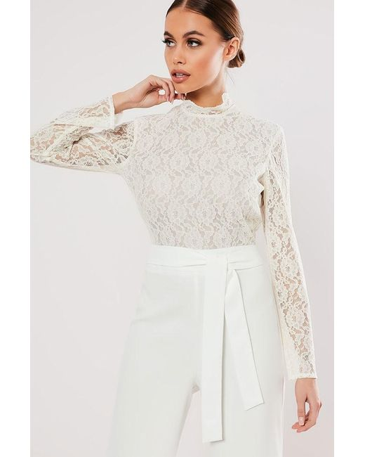 Missguided - White Lace Combo Jumpsuit At - Lyst