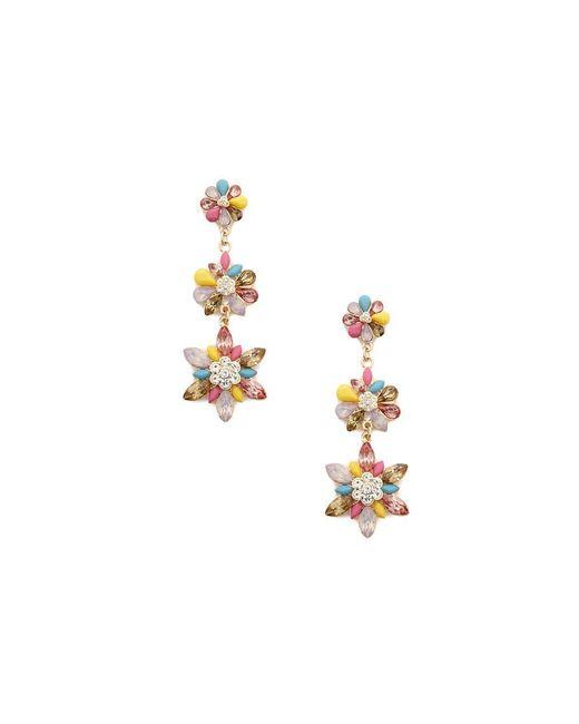 Forever 21 - Metallic Tiered Flower Faux Gem Drop Earrings - Lyst