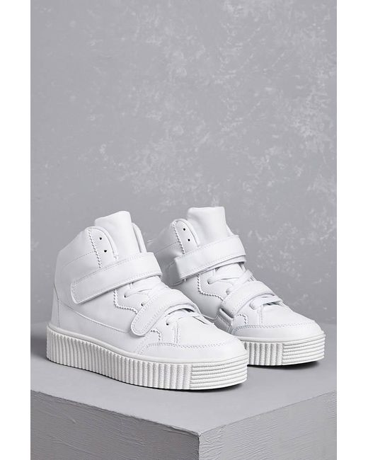 Forever 21 - White Faux Leather Flatform Sneakers - Lyst