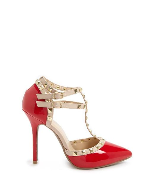 Forever 21 - Red Faux Patent Leather Studded Heels - Lyst