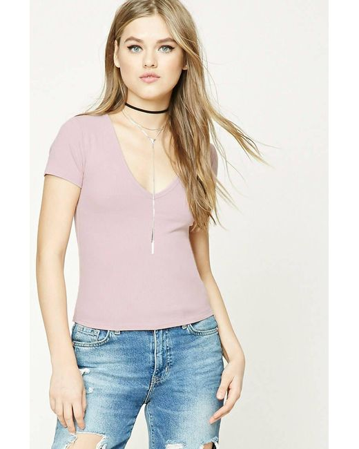 Forever 21   Pink Ribbed Knit V-neck Tee   Lyst